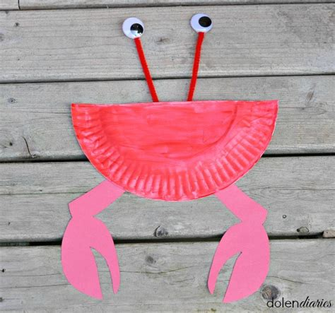 Crab Paper Plate Craft - paper plate crab skip to my lou