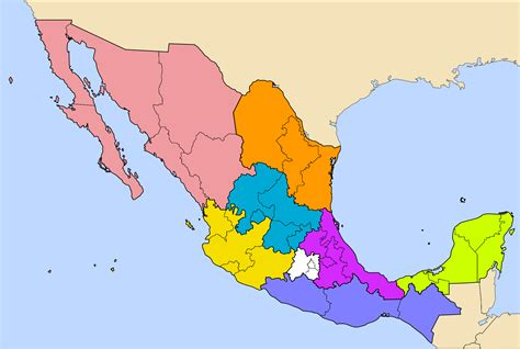 map of mexico regions regions of mexico map