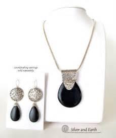 Unique Handmade Silver Jewellery - black onyx sterling silver necklace unique handmade
