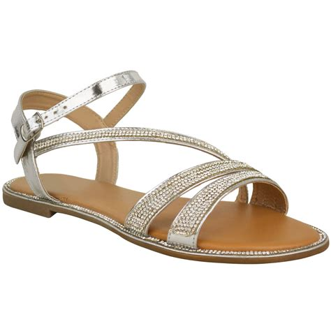 summer flats shoes womens flat diamante summer sandals strappy