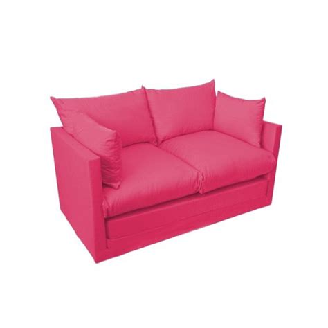 Comfortable Fuchsia Pink Childrens Kids 100 Cotton Drill Sofa Bed Pink