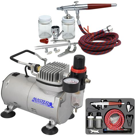 complete paasche vl set airbrushing system with a master tc 20 professional air compressor