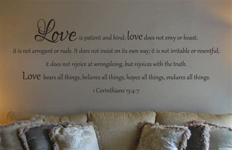 Custom Name Wall Stickers wall decal of 1 corinthians 13 4 7