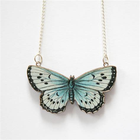 zooey wooden butterfly necklace by ladybird likes