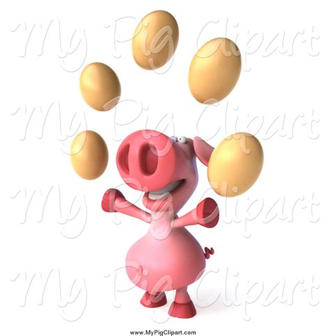 juggler 3d pattern swine clipart of a 3d pig juggling eggs by julos 1091