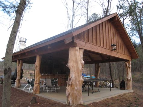 House Plans With Carport by Rustic Cedar Log Pavilion Traditional Patio