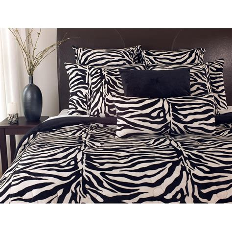 black white zebra print twin size microplush comforter set