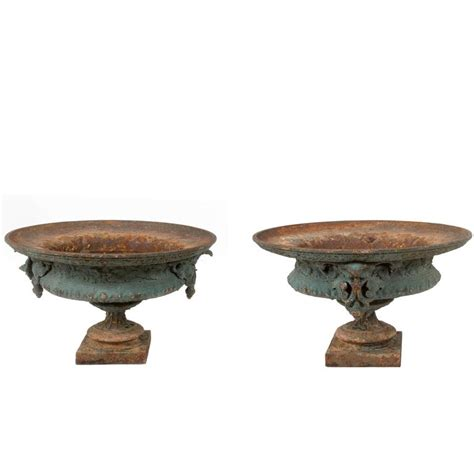 Iron Urn Planters by Pair Of 19th Century Iron Urn Planters For Sale At