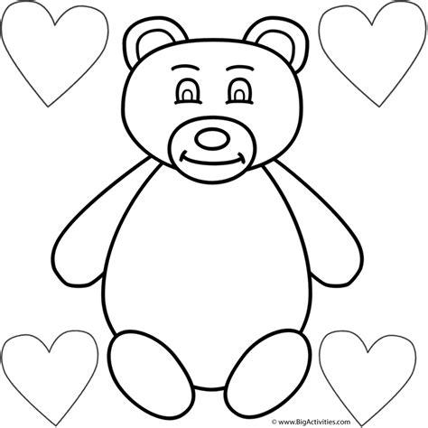 teddy bear and four hearts coloring page valentine s day