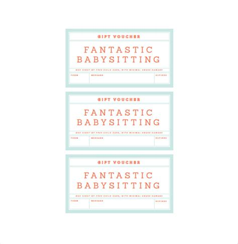 babysitting gift voucher template baby sitting voucher template 10 free word pdf