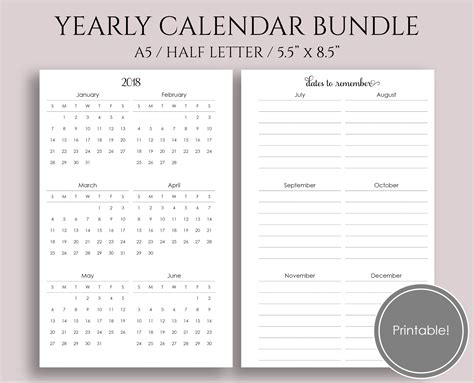 printable a5 year planner yearly calendar bundle 2018 and 2019 a5 half letter