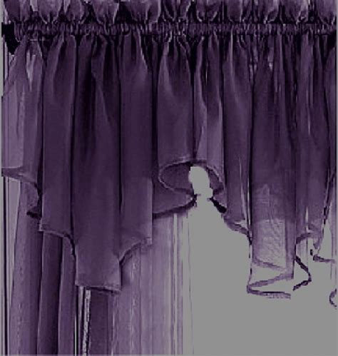 purple valance curtains sheer plum purple ascot valance