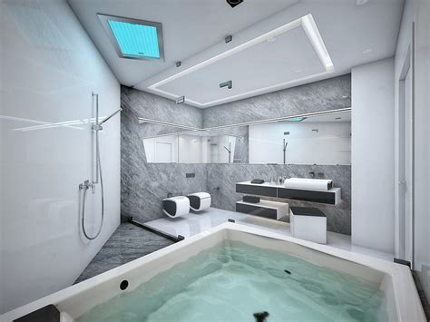 Futuristic Bathroom | futuristic black and white apartment