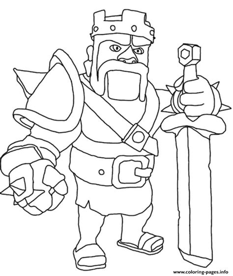 Coloring Pages Info barbarian king clash of clans coloring pages printable