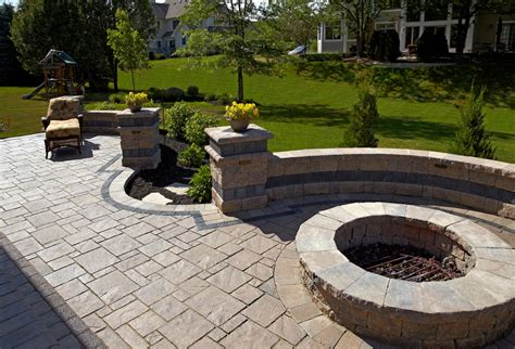 Brick Patio With Pit by Pin By All Landscapes On Unilock Brick Pavers