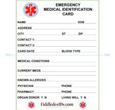 emergency information cards template free printable id cards id wallet size