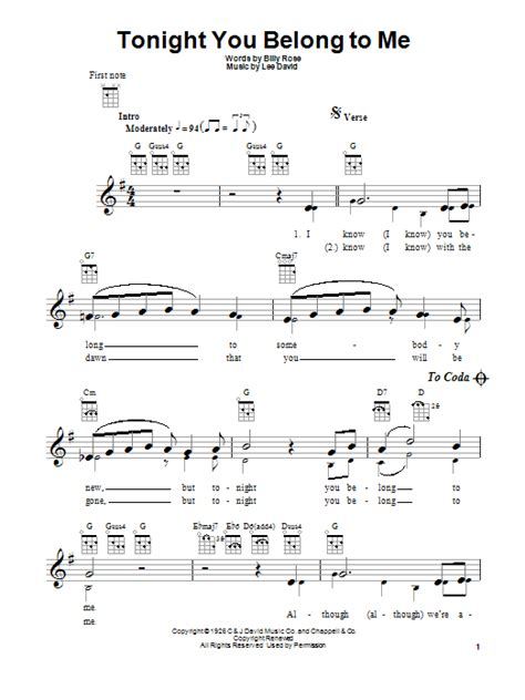 Strum Pattern Tonight You Belong To Me | tonight you belong to me sheet music direct