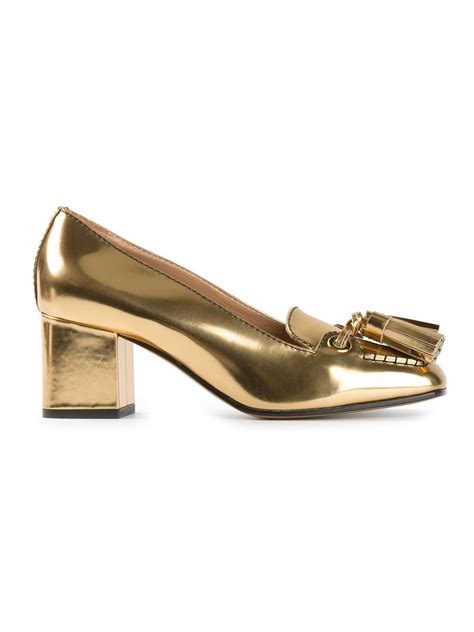 gold tassel loafers dsquared 178 tassel loafers in gold metallic lyst