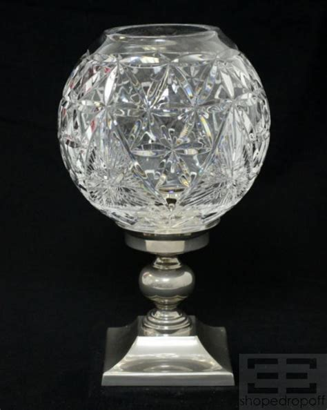 waterford crystal hurricane candle l waterford crystal etched hurricane candle holder ebay