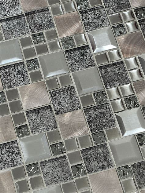 Glass Metal Gray Copper Mosaic Backsplash Tile
