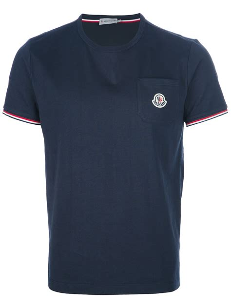 t shirts moncler logo pocket tshirt in blue for navy lyst