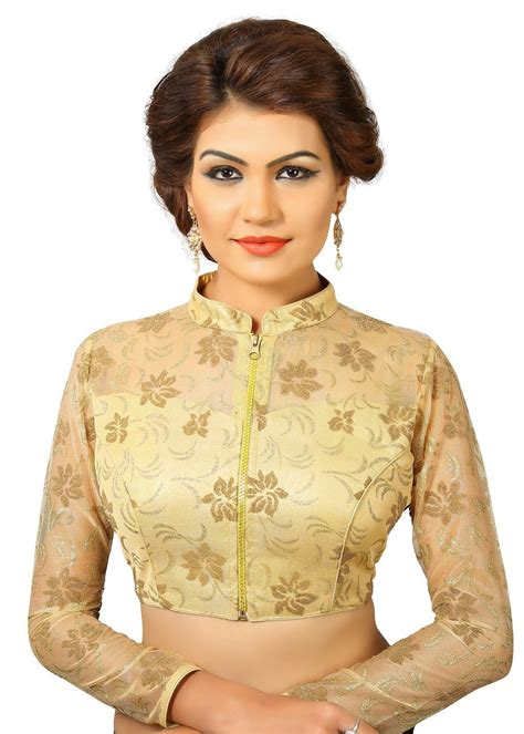 saris and things gold fancy fancy front open saree blouse