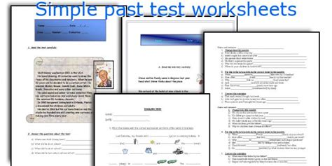 Simple Past Test Printable