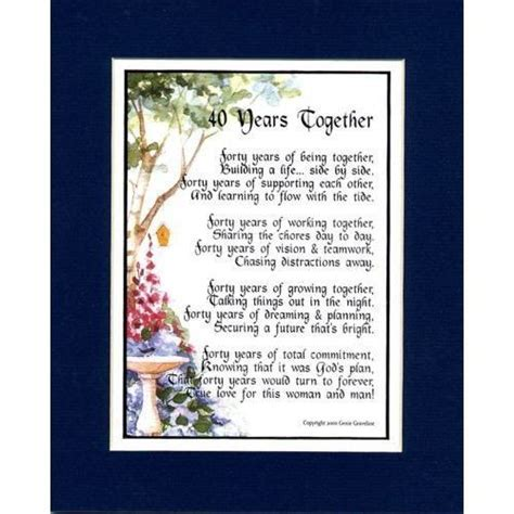 40th Wedding/Anniversary Poems   Wedding Anniversary Poems
