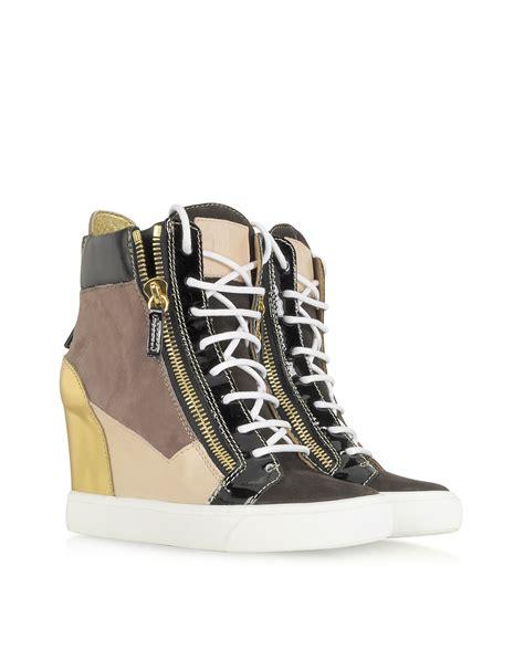 giuseppe zanotti sneaker wedge giuseppe zanotti hightop laminated calfskin wedge sneaker