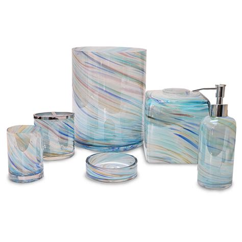 bathroom collections sets veratex blue horizon multi color glass bath accessories collection ebay
