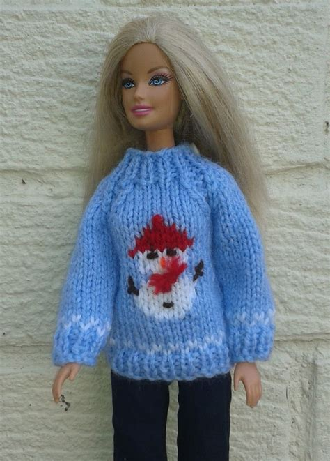 pattern knitting doll barbie snowman sweater knitting pattern on ravelry