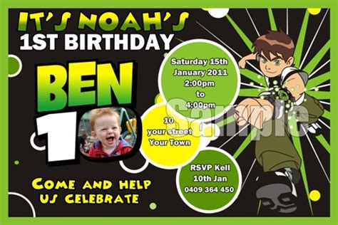 Ben 10 Birthday Invitation Cards Templates by Chaarkell Designs Personalised Invitations For Your