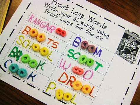 the oo first grade wow froot loops oo word work