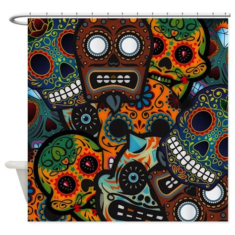 day of the dead curtains day of the dead shower curtain by highaltitudes2