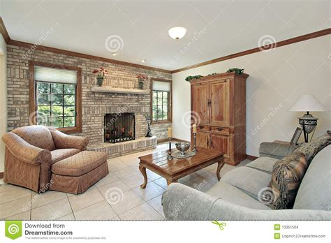 family room fireplace family room with stone fireplace stock images image