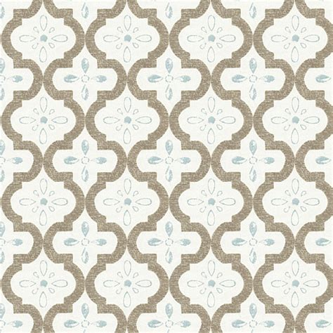 trellis fabric tan aqua quatrefoil trellis sateen fabric contemporary