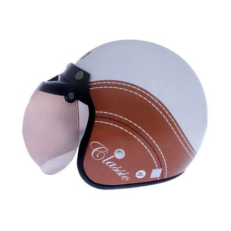 Helm Bogo Nomor jual wto helmet retro bogo classic putih cokelat helm half
