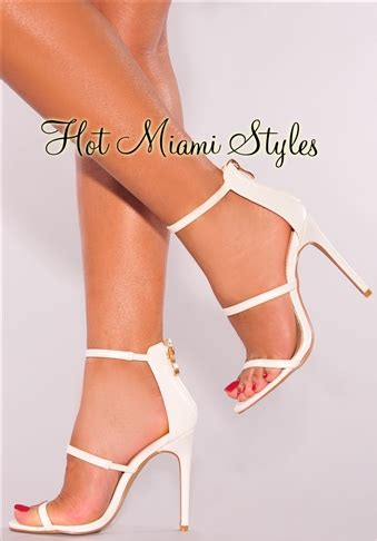 Faux Leather High Heel Sandals white faux leather high heel sandals