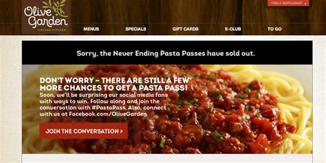olive garden website olive garden s never ending pasta promotion backfires after site crashes business insider