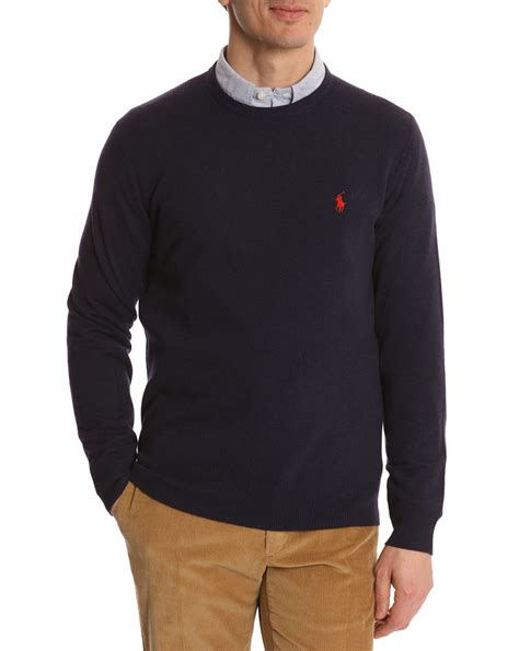 polo ralph navy wool neck sweater in blue for lyst