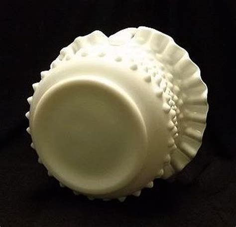 Authentic Fenton Handmade - fenton milk glass hobnail basket with original paper label