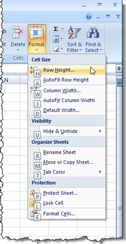 format row height excel 2007 use the keyboard to change row height and column width in