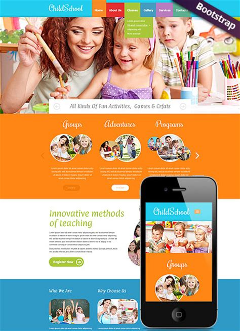 children school bootstrap template id 300111795 from
