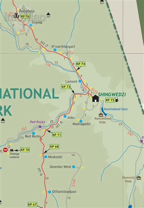 kruger national park map kruger national park map paper road map with gps coordinates