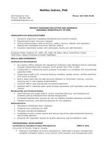 Resume Exles For Managers Position by Resume For Project Manager Position
