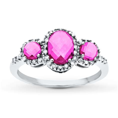 pink sapphire ring with diamonds 14k white gold