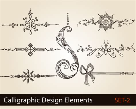 design elements for photoshop calligraphic design elements vector set 2 vector