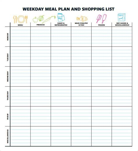 meal planning template excel 25 best ideas about meal plan templates on