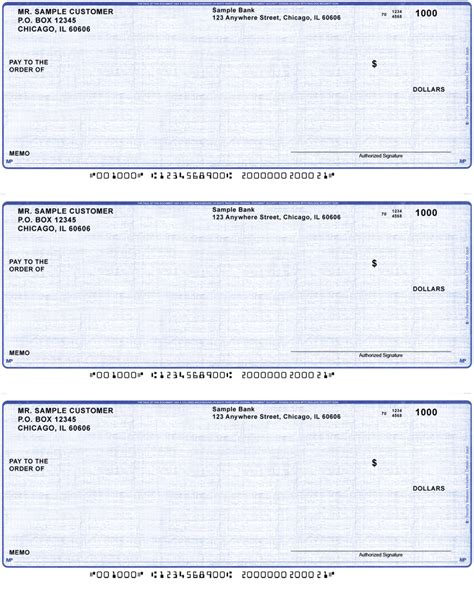 A Check Background Check Blue Linen Business Laser Inkjet Checks 3 To A Page