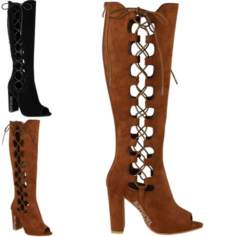 knee high lace up heel boots womens lace up side knee high block heel boots cut